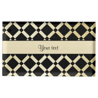 Stylish Black & Gold Squares Table Card Holders