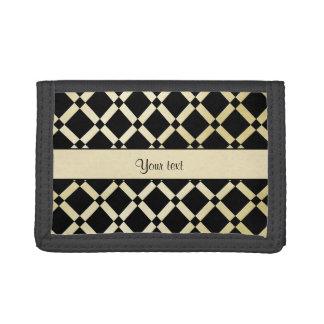 Stylish Black & Gold Squares Tri-fold Wallets