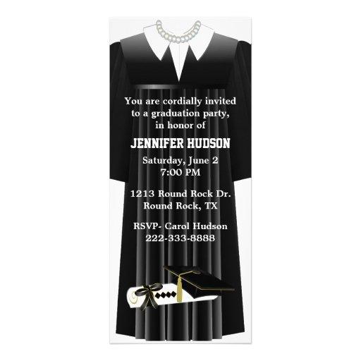 Stylish Black Gown Graduation Party Invitation