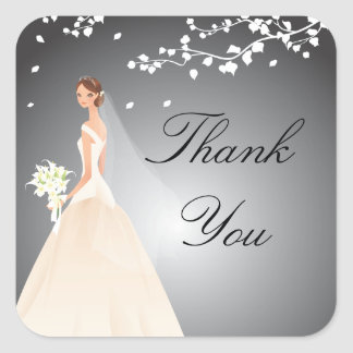 Stylish Black & Grey Bride Bridal Shower Square Square Sticker