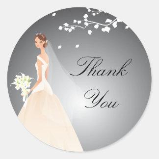 Stylish Black & Grey Bride Bridal Shower Sticker
