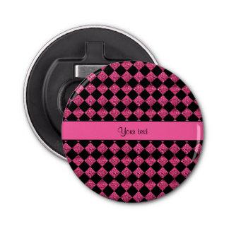 Stylish Black & Hot Pink Glitter Checkers