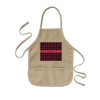 Stylish Black & Hot Pink Glitter Checkers Kids Apron