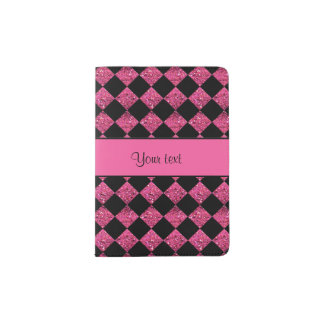 Stylish Black & Hot Pink Glitter Checkers Passport Holder