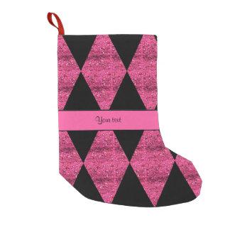 Stylish Black & Hot Pink Glitter Diamonds