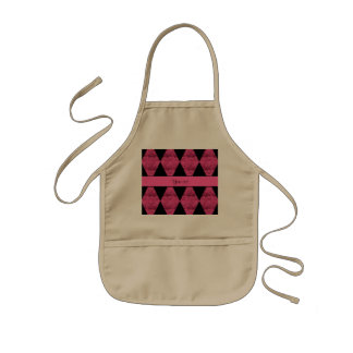 Stylish Black & Hot Pink Glitter Diamonds Kids Apron