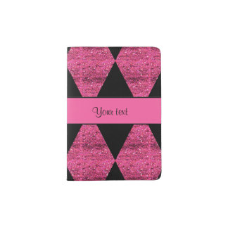 Stylish Black & Hot Pink Glitter Diamonds Passport Holder