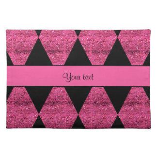Stylish Black & Hot Pink Glitter Diamonds Placemat