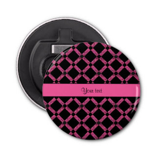 Stylish Black & Hot Pink Glitter Squares