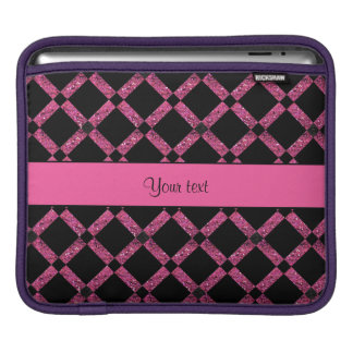 Stylish Black & Hot Pink Glitter Squares iPad Sleeve