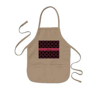 Stylish Black & Hot Pink Glitter Squares Kids Apron