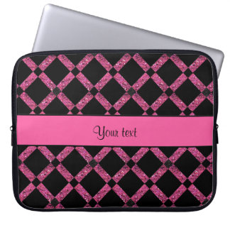 Stylish Black & Hot Pink Glitter Squares Laptop Sleeve