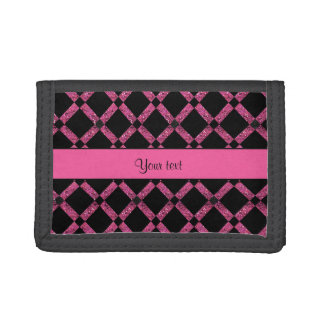 Stylish Black & Hot Pink Glitter Squares Tri-fold Wallet