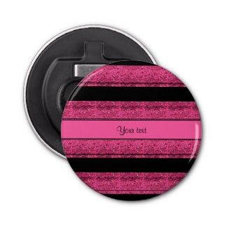 Stylish Black & Hot Pink Glitter Stripes