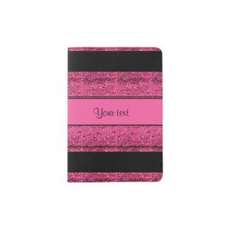 Stylish Black & Hot Pink Glitter Stripes Passport Holder
