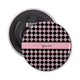 Stylish Black & Lilac Glitter Checkers