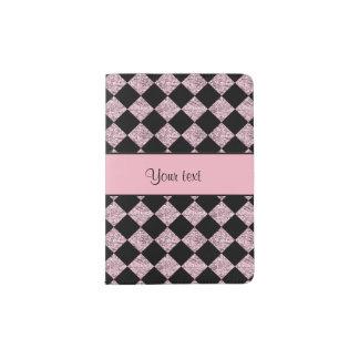 Stylish Black & Lilac Glitter Checkers Passport Holder