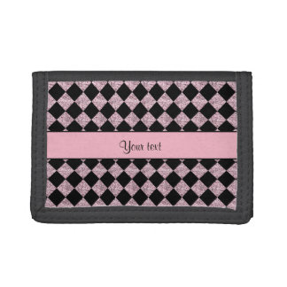 Stylish Black & Lilac Glitter Checkers Trifold Wallets
