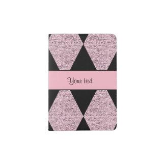 Stylish Black & Lilac Glitter Diamonds Passport Holder