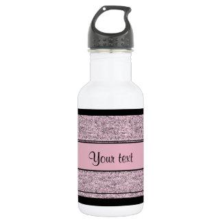 Stylish Black & Lilac Glitter Stripes 532 Ml Water Bottle