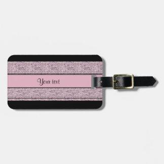 Stylish Black & Lilac Glitter Stripes Luggage Tag