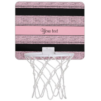 Stylish Black & Lilac Glitter Stripes Mini Basketball Hoop