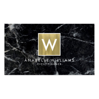 Stylish Black Marble and Gold Printed Texture Pack Of Standard Business Cards