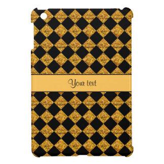 Stylish Black & Orange Glitter Checkers Case For The iPad Mini