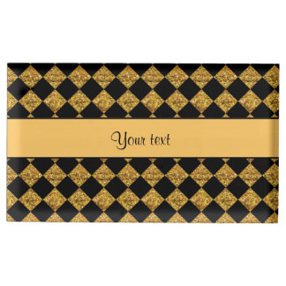 Stylish Black & Orange Glitter Checkers Table Card Holder