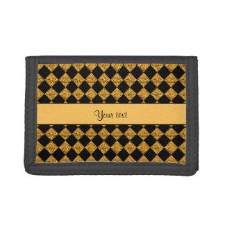 Stylish Black & Orange Glitter Checkers Tri-fold Wallets
