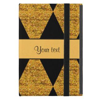 Stylish Black & Orange Glitter Diamonds Case For iPad Mini