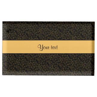 Stylish Black & Orange Glitter Mini Stars Table Card Holders