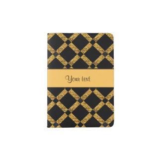 Stylish Black & Orange Glitter Squares Passport Holder