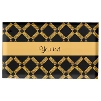Stylish Black & Orange Glitter Squares Place Card Holder