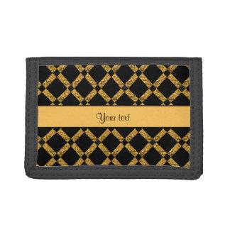 Stylish Black & Orange Glitter Squares Trifold Wallets