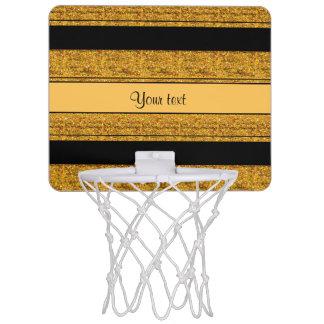 Stylish Black & Orange Glitter Stripes Mini Basketball Hoop
