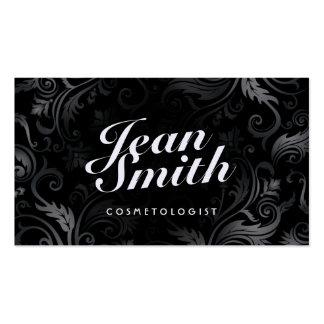 Stylish Black Ornament Cosmetologist Business Card