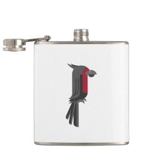 Stylish Black Palm Cockatoo Hip Flask