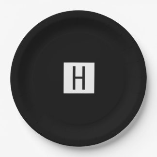Stylish Black Paper Plate with Monogram 9 Inch Paper Plate
