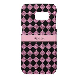 Stylish Black & Pink Glitter Checkers