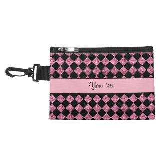 Stylish Black & Pink Glitter Checkers Accessory Bag