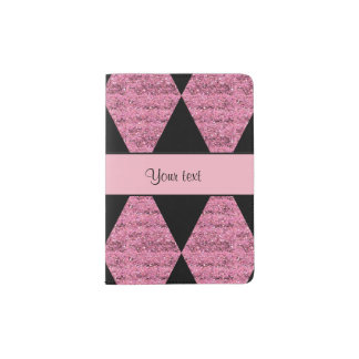 Stylish Black & Pink Glitter Diamonds Passport Holder