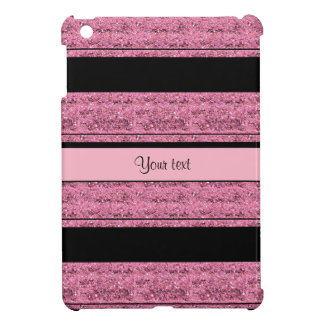 Stylish Black & Pink Glitter Stripes Case For The iPad Mini