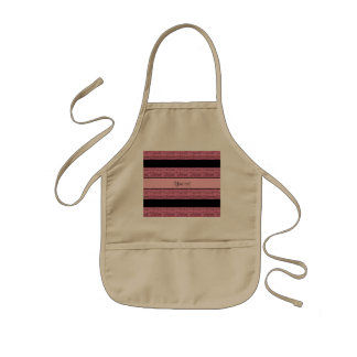 Stylish Black & Pink Glitter Stripes Kids Apron