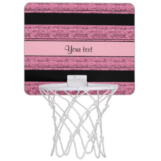 Stylish Black & Pink Glitter Stripes Mini Basketball Hoop