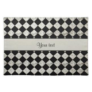Stylish Black & Silver Glitter Checkers Placemats