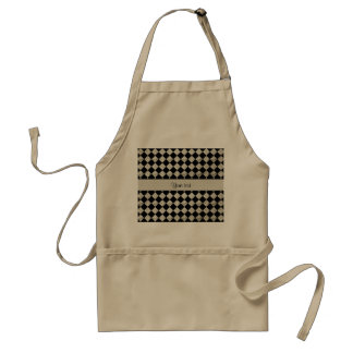 Stylish Black & Silver Glitter Checkers Standard Apron