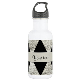 Stylish Black & Silver Glitter Diamonds 532 Ml Water Bottle