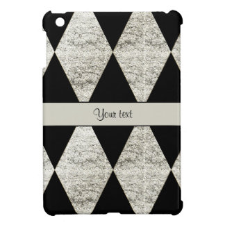 Stylish Black & Silver Glitter Diamonds iPad Mini Cover