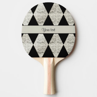 Stylish Black & Silver Glitter Diamonds Ping Pong Paddle